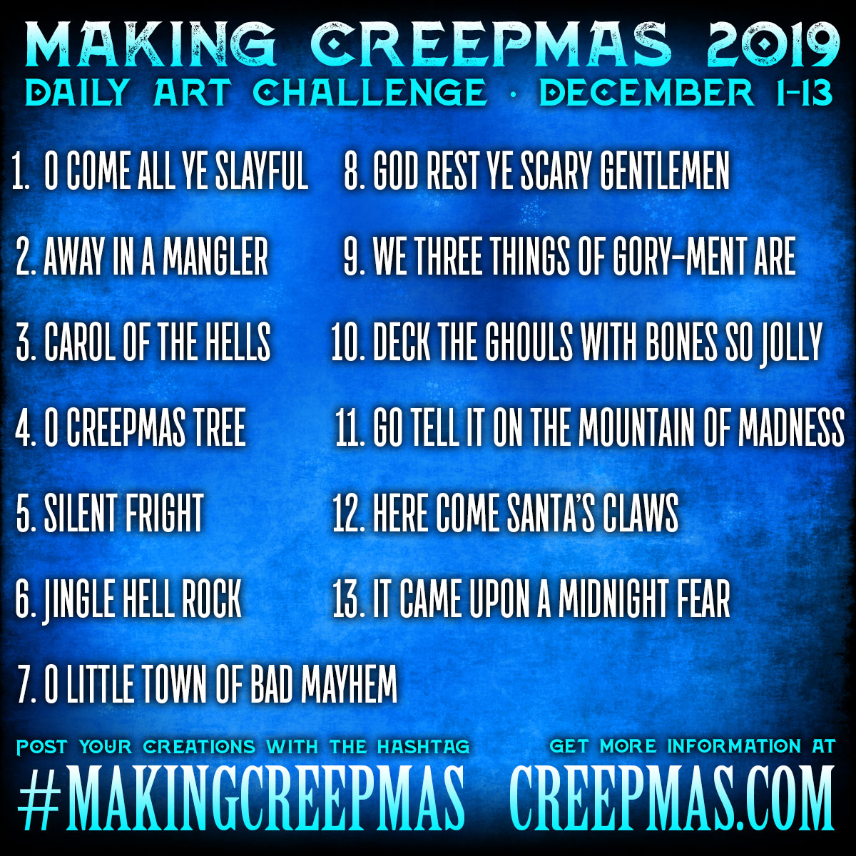 Making Creepmas 2019 Prompt List